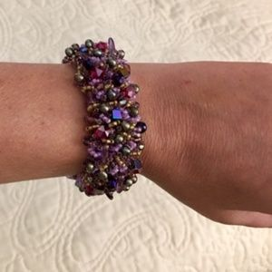 "Hand Beaded Cuff ""Magic Carpet"" Bracelet Sz 7""-8"""